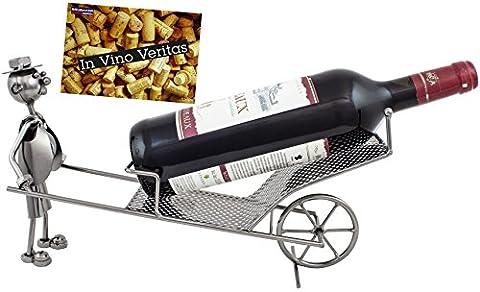 Brubaker Porte-bouteille de vin Brouette Bouteille de vin Support Objet décoratif Métal avec carte de vœux pour
