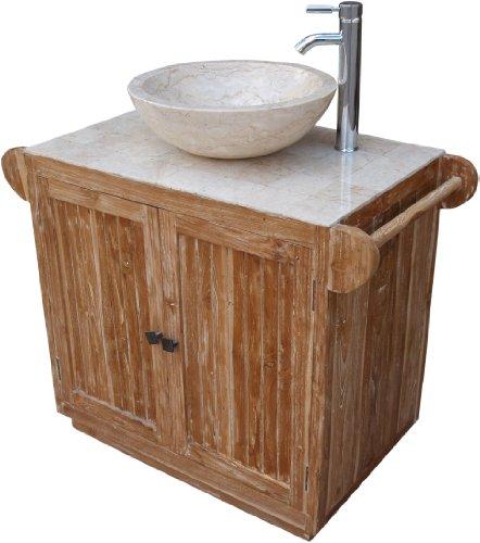 Guru-Shop Vanità, Lavandino, Antico Marmo Bianco, Legno, 80x96x52 cm, Lavabi, Vasche da Bagno Lavelli