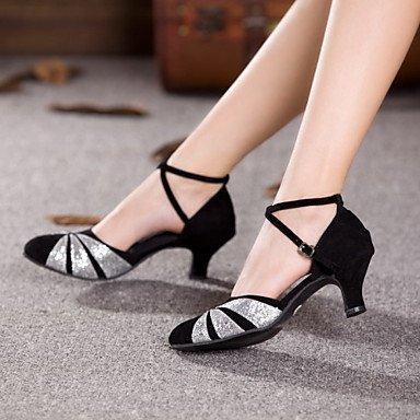 XIAMUO Nicht anpassbar - Die Frauen tanzen Schuhe Leder/Lack Leder Leder/Lackleder Latin/Jazz Heels kubanischen HeelPractice/Beginner/ Schwarz und Silber