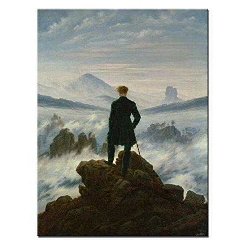 """Wandkings Leinwandbild \""""Der Wanderer über dem Nebelmeer\"""" von Caspar David Friedrich / 60 x 80 cm / auf Keilrahmen"""