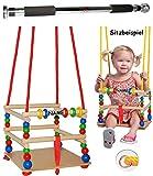 Unbekannt Schaukel aus Holz + Türreck - incl. Name - Gitterschaukel - mit Gurt / Kinderschaukel - Leichter Einstieg ! - mitwachsend & verstellbar - Babyschaukel - Verst..