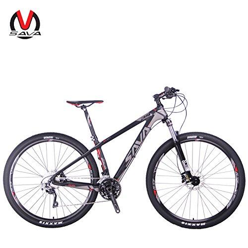 SAVA DECK 300 27.5'/29' Bicicleta de Montaña de Fibra de Carbono 30-Velocidad Shimano M610 Hard Tail Bicicleta SR SUNTOUR Horquilla de Suspensión Mountain Bike Maxxis Neumáticos (29*19', gris)