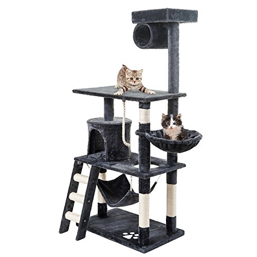 PURLOVE® Large Cat Tree Scratching Post Multi-Level Cat Scratcher Activity Tree 3 Tier Cat Climbing Tower Furniture (Grey)