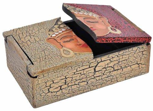 Schatulle aus leichten Albesia-Holz, handbemalt, Buddha oder Yin & Yang, Motiv:- Buddha