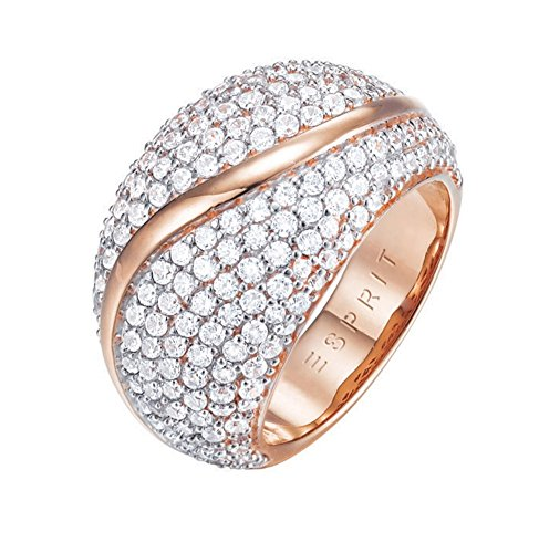 ESPRIT Glamour Damen-Ring ES-ATROPIA ROSE teilvergoldet Zirkonia transparent Gr. 54 (17.2) - ESRG02844C170