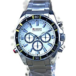 QBD Men's Steel Wrist Watch. Oversized King-sized and Chunky. Water Resistant (White)