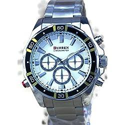 QBD Herren Stahl Armbanduhr. Übergroße Große und geschoben. Wasserabweisend (weiß)