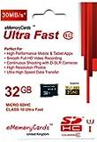 eMemoryCards 32GB Ultra Fast Class 10 30MB/Sec Micro SD SDHC Memory Card For Panasonic Lumix DMC-XS3EB-K Camera