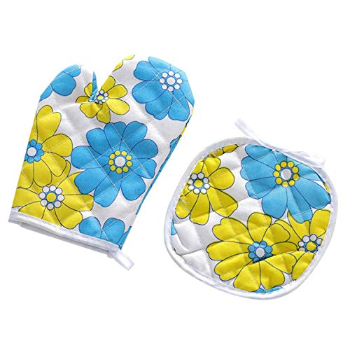 Heat Resistant Oven Glove with Hot Pad,Food Safe Cute Oven Mitt,Professional Insulated Potholder&Mitten Kitchen Tools for BBQ,Cooking Baking,Grilling(2Pcs/Set)