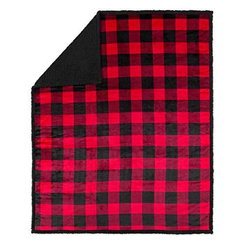 Safdie & Co. 50x60 Buffalo Plaid Red and Black Ultra Soft Throw, Multi Color - Buffalo Plaid Fleece