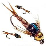 Arc fishing supplies Kupfer John, Forelle, Angeln, Angeln Fliegen, UK. Größe 12Haken x 3Fliegen