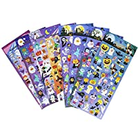 Happy Halloweens Stickers 8 Sheets with Ghost, Pumpkin, Demon, Wizard, Mummy, Vampire, Witch, Skull, Bat, Spider Stickers Deacals for Jack O Lantern Decoration Scrapbooking Kids Party Favors