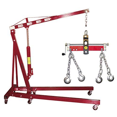 DeTec Werkstattkran / Motorkran / Motorheber / Hebekran, klappbar, inkl. Stahlkette, mit Haken, 2to / 2000kg [24361] + Balancer 750 kg 340mm [24363]