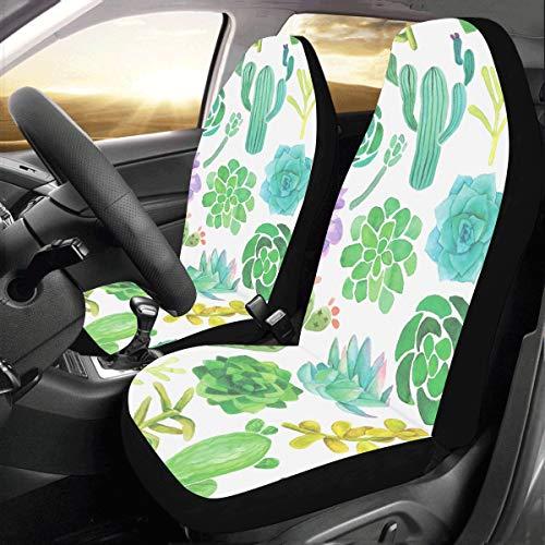 Schöne grüne Aquarell Oase Kaktus benutzerdefinierte neue Universal Fit Auto Drive Autositzbezüge Protector für Frauen Automobil Jeep Lkw Suv Fahrzeug Full Set Zubehör für Erwachsene Baby Satz von 2