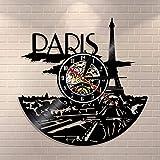 Vandelkt Paris Clock Vinyl Record Paris Skyline Wall Decor Paris Eiffel Tower Dormitorio Decoración Paris Wall Clock Francia Viaje Regalo para Ella
