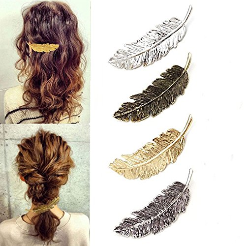 Vintage Exagérée en Alliage Plume en épingle à Cheveux, 4Pcs Set Arbre Feuille Côté épingle à Cheveux Clip, Porte-queue de Cheval pour Les Femmes et Les Filles Styling Accessoires