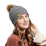 SHOBDW Winter Strickmütze Männer Frauen Baggy Warm Crochet Winter Wolle Stricken Ski Beanie Schädel Slouchy Caps Hut (B-Grau)