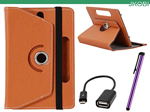 Jkobi Combo of Tablet Book Flip Flap Case Cover With OTG Cable & Stylus Pen Compatible For iBall Slide WQ32 -Orange  available at amazon for Rs.265