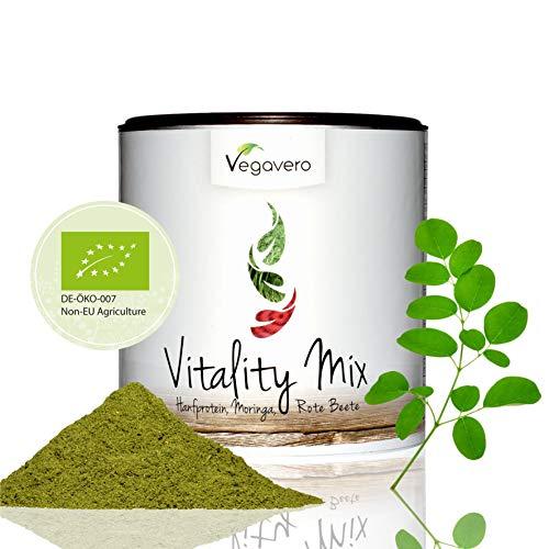 SUPERFOOD VITALITY MIX Orgánico 200 g de Vegavero, proteínas Bio cáñamo + BIO + BEETROOT + BIO Moringa oleífera, CALIDAD DE LOS ALIMENTOS crudo, vegano, en el bello Refill DOSIS, calidad 200 g de Alemania