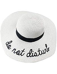 Le donne Lettera ricamo Beach cappello di modo del cappello di paglia  Flobby pieghevole bowknot cappello 3e31580b3891