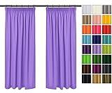 Rollmayer 2er Pack Vorhänge mit Bleistift Kollektion Vivid (Lavendell 19, 135x215 cm - BxH) Blickdicht Uni einfarbig Gardinen Schal für Schlafzimmer Kinderzimmer Wohnzimmer 2 Stück