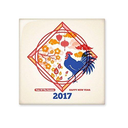 DIYthinker Frohes Neues Jahr Chinese Elements 2017 Jahr des Hahns Chinesisches Sternzeichen-Muster Illustration Keramik Bisque Fliesen für Dekorieren Badezimmer- S