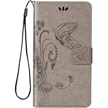 JODON Phone Funda Cover, Para Huawei Nexus 6P, [Emboss Flower Butterfly] Cartera de cuero premium de la PU [Soporte / Ranura para tarjeta] Con correa para la muñeca Funda de la funda con tapa de cordón ( Color : GRAY , Size : Huawei Honor 5X )