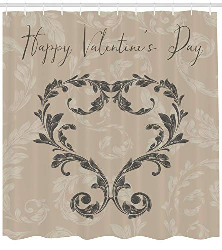 tgyew Taupe Shower Curtain, Happy Love Valentine's Day Stylized Hand Writing Laurel Leaves Forming Heart Victorian, Fabric Bathroom Decor Set with Hooks, 72x72 inches, Taupe Tan -