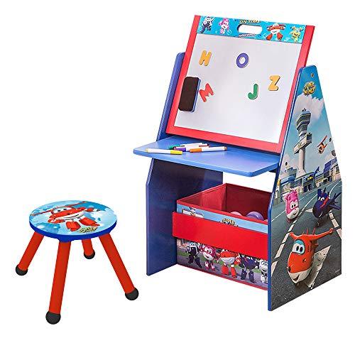 Style home Super Wings 3 in 1 Kinder Schreibtisch + Hocker+ Maltafel + Bücherregal + Spielzeugkiste, Holz Kinder Sitzgruppe Kinderstuhl Regal Organzier C3DZD001