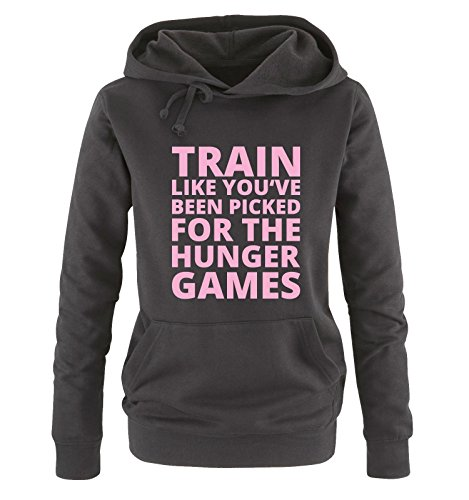 Comedy Shirts - Train like you've been picked for the HUNGER GAMES - Damen Hoodie - Schwarz / Rosa Gr. XL