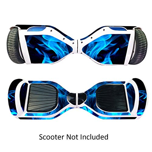 Skin for Self Balancing Scooter Stickers for Scooter Electric Hoover boards Skateboard Decal for Self Balance Electric Skateboard Bluetooth - Cover Fit Real 2 Wheel Scooter - Case Stickers for Motorized Longboard Drifting Boards - Blue Fire