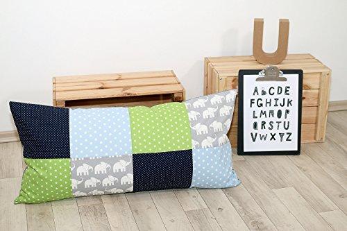 ULLENBOOM ® Patchwork Kissen 40x80 cm mit Füllung Elefant Blau Grün (mit Reißverschluss, Bezug auch für Dekokissen geeignet, Motiv: Sterne, Patchwork) -