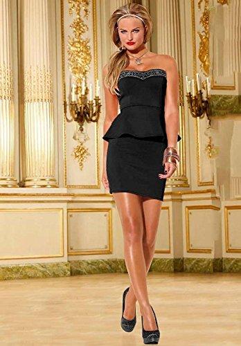 Melrose Damen-Kleid Kleid mit Schößchen Schwarz Größe 40