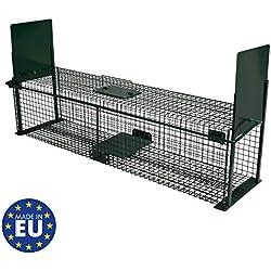Piège de capture - Cage -XL - Pour petits animaux : Lapins, chats, martres, fouines - 100x25x25cm - Deux entrées - 5007