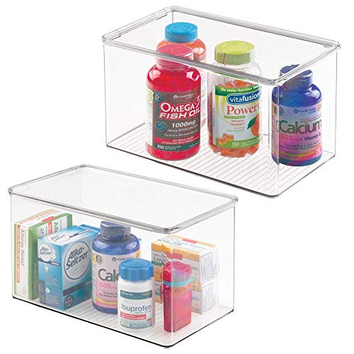 mDesign Storage Box Organizer for Vitamins, Supplements, Health Products -  Set of 2, Extra Large, Clear