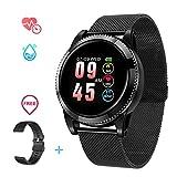 Smartwatch Impermeabile Uomo IP67, Smartwatch Sportivo Uomo Orologio Sportivo Cardiofrequenzimetro da Polso Monitoraggio Fitness Tracker Contapassi Smartwatch bluetooth per Android e iOS (Nero 2)