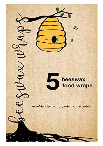 Satz Von 5 Großen Biologisch Abbaubaren, Organischen, Wiederverwendbaren Bienenwachstücher| 100% Natürliches Bienenwachs, Baumwolle, Jojobaöl und Baumharz | Bis Zu Einem Jahr Gebrauch
