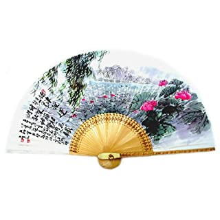 Hand Painted Folding Lotus Flower Pond Summer Scene Painting Korean Mulberry Rice White Paper Bamboo Art Handheld Decorative Fan