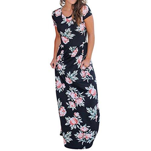 feiXIANG Frauen ärmellosen Kleider O-Ausschnitt Sommer Kleid Rock Damen Floralen Druck Maxi Kleid mit Taschen Langes Druckkleider Kleid mit ärmellosem Print für Damen (S, Z/Schwarz) (Anzug Langer Rock Rock)
