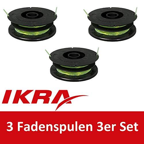 IKRA 78200001-3 Lot de 3 bobines de rechange pour débroussailleuse et débroussailleuse
