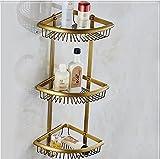 Mangeoo Stanza da bagno in stile europeo bagno rame antico angolo singolo rack telefono mobile telaio triangolo cestello Cestello rack di bronzo,Bronzo Antico ventola con 3 strati di cestelli angolari