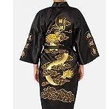 NEGRO Hombre Desgaste Noche Japonés Dragon Bordado Bata De Dormir Tradicional Ropa Kimono Senior 1 Tamaño con el oro Takashi Japón Regalo Ideal para todas las ocasiones