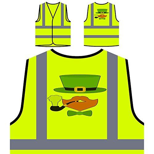 Green Hat Ingwer Bart Pfeife Personalisierte High Visibility Gelbe Sicherheitsjacke Weste m32v