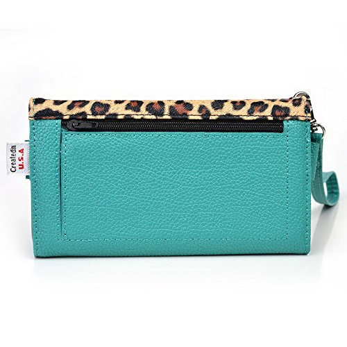 Kroo Pochette Téléphone universel Femme Portefeuille en cuir PU avec dragonne compatible avec lave Icône/Iris x1 Grand Multicolore - Blue and Red Multicolore - Emerald Leopard