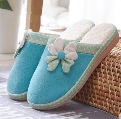 Le donne cadono e pantofole di cotone carino inverno coperta calda con mezzo pacchetto di, casa anti - ciabatte antiscivolo per uso domestico Blue