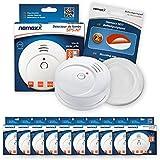 10x Nemaxx SP5-NF Detector de humo de alta calidad con pila incluida de 9V - Blanco + NX1 Pad de fijación