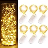 Ambox LED Starry String Lights, Set Of 6 Fairy String Lights 20 Micro LEDs On 6.6ft / 2m Silver Coated Copper Wire For DIY Dinner Party Christmas Decoration, Powered By 2x CR2032 Included Warm White