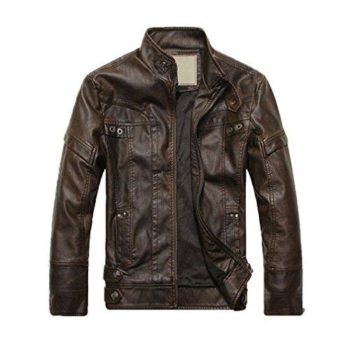 REFURBISHHOUSE Fashion Maenner Leder Motorrad Maentel Jacken gewaschenes Leder Mantel Kaffee Groesse L (Aus Mann Mäntel Den Leder Für)