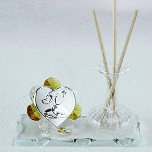Dlm26419-giallo profumatore in vetro soffiato e cristallo 50 anniversario nozze matrimonio_giallo bomboniera