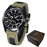 YISUYA Luxury Luminous Holuns Chronograph Men Business Canvas Leather Watch Strap Waterproof Style Citizen Sport Watches Outdoor Military Holuns Army Green